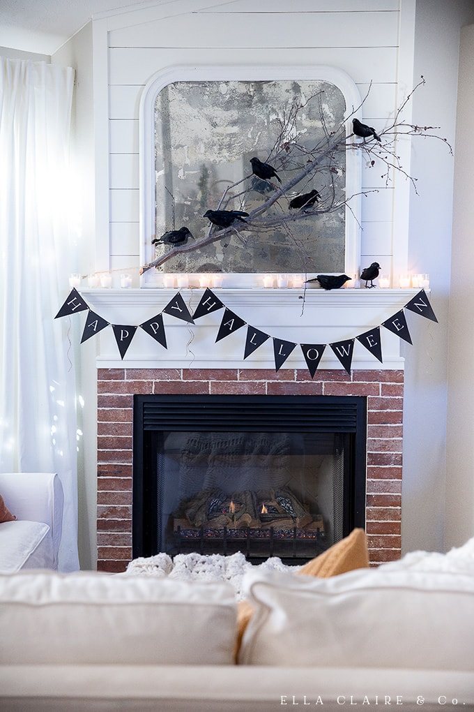 Decorate your mantel this season with this free printable Happy Halloween banner