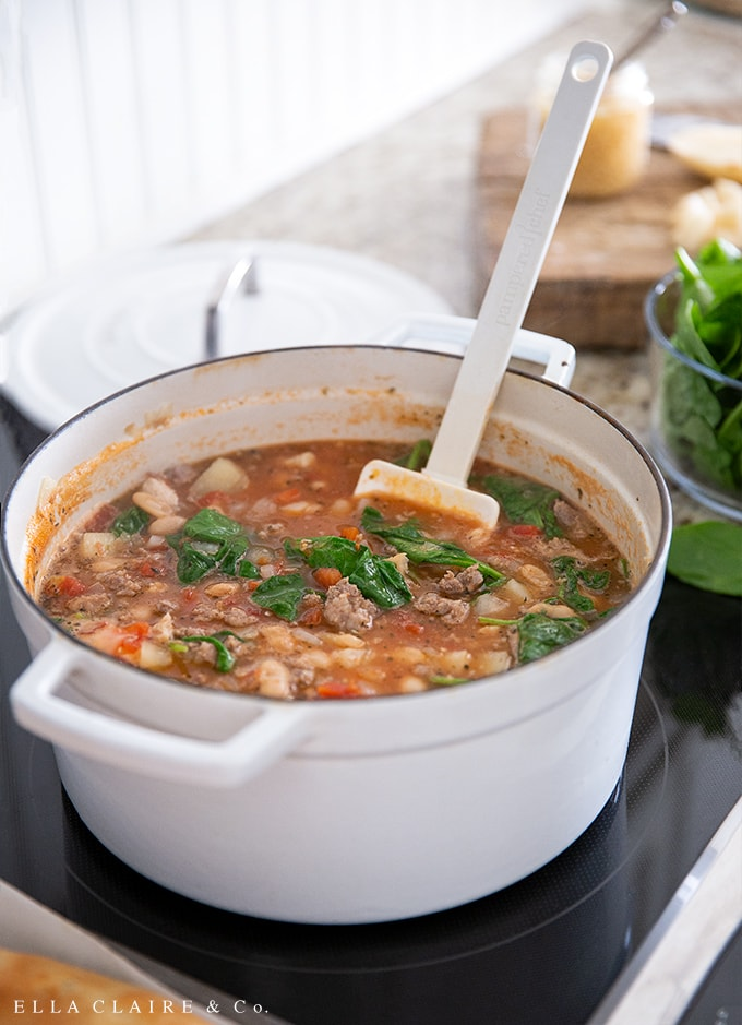 This hearty Italian Peasant soup is my husband's favorite and is loaded with filling ingredients like chicken, sausage, beans, vegetables and even a little bit of potatoes for good measure! Our family loves this recipe in the fall and all winter long!