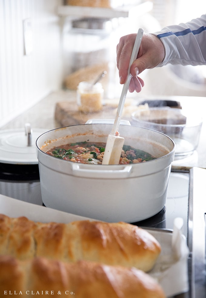 Hearty Italian peasant soup with chicken, sausage, vegetables, potatoes is a perfect fall soup.