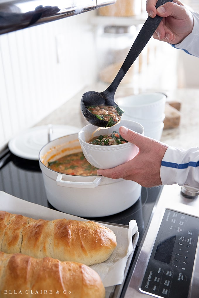 ladle up a hot bowl of Italian peasant soup- a hearty fall or winter soup with chicken and sausage, veggies, beans and more.