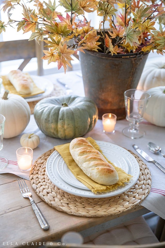 Individual mini French bread loaves for a golden yellow rustic fall tables cape