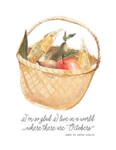 fall harvest basket free printable