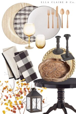 black and white fall tablescape with warm and cozy Autumn touches- a rustic farmhouse feel.