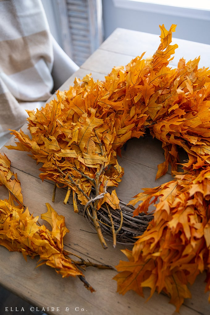 How to finish an easy and full DIY preserved leaf Fall wreath.