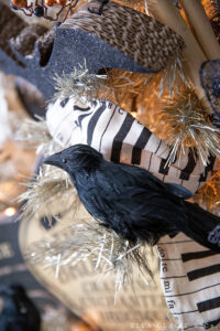 crows as an accent on a vintage Halloween tree