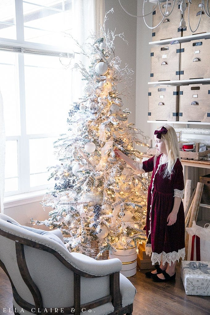 White Blue And Silver Christmas Tree Ella Claire