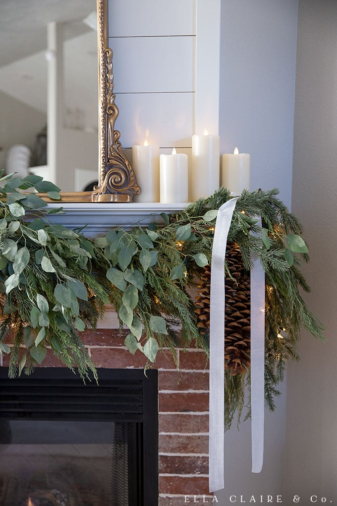 DIY faux and fresh garland with cedar and eucalyptus accents.