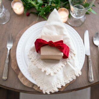 Christmas Tablescape with Gifts and Wafer Cookie Cake