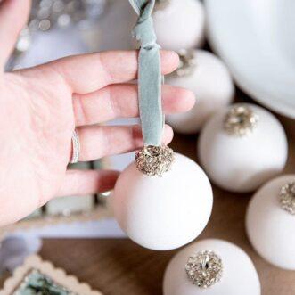 DIY Ceramic Glitter Glass Ornaments