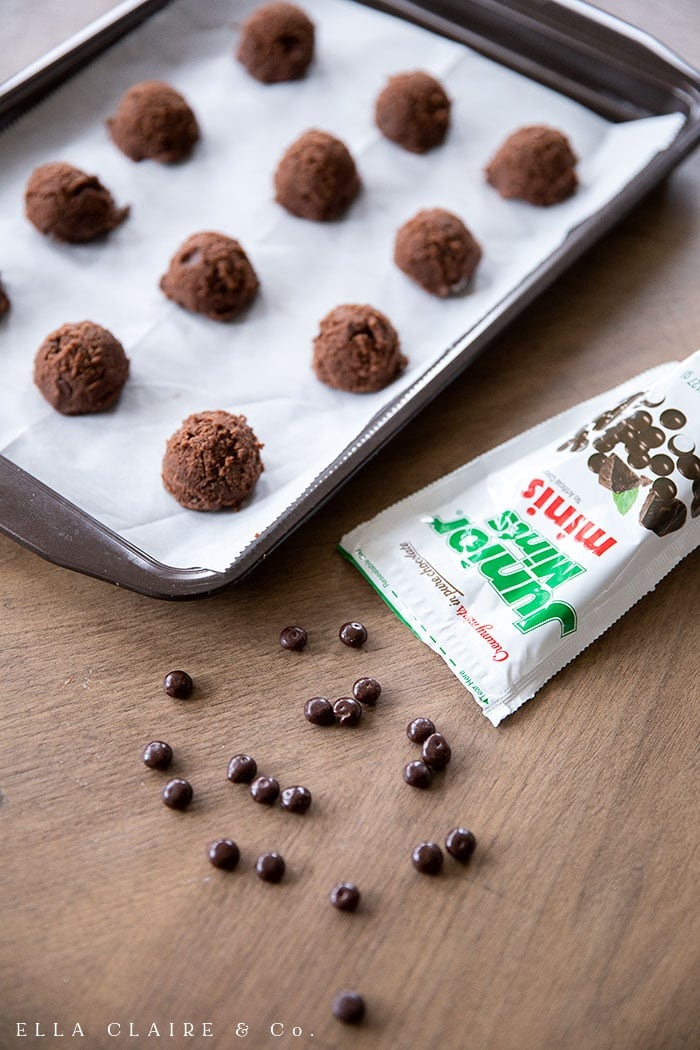 use mini junior mints for these double chocolate junior mint cookies
