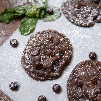 Double Chocolate Junior Mint Cookies are perfect for that sweet tooth or chocolate craving, and even better for your Christmas Cookie exchange! It is a unique cookie that is absolutely delicious!