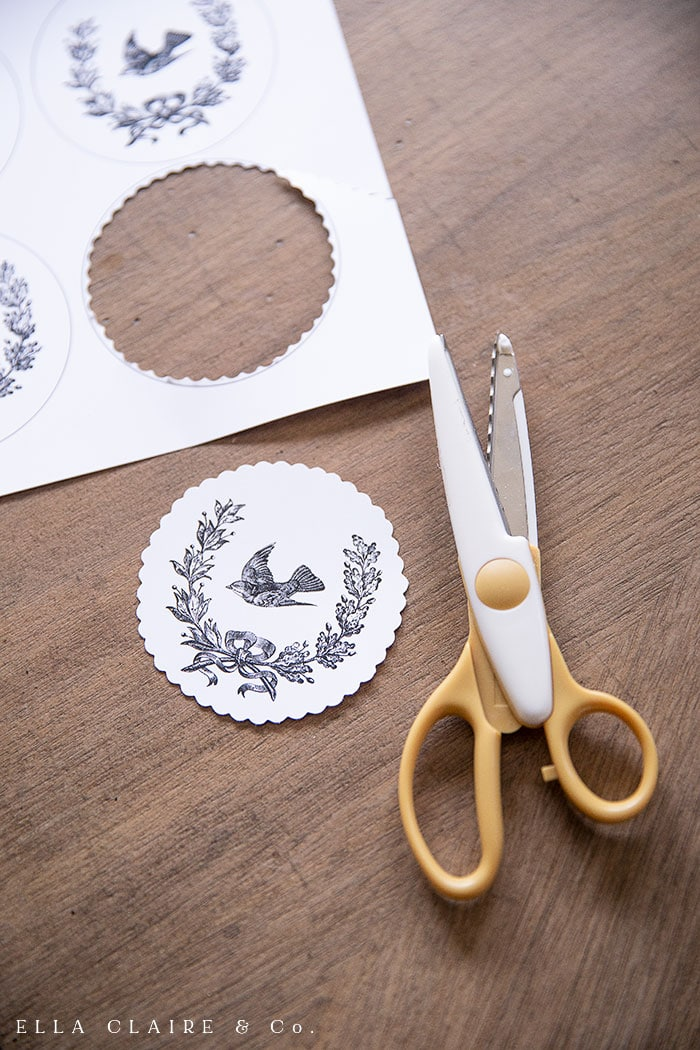 scallop scissors create a beautiful trim on ornaments