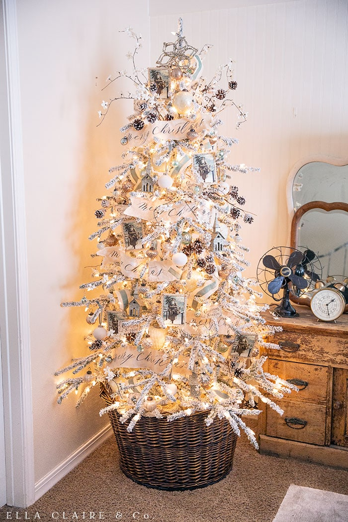 A Christmas Tree loaded with DIY, free, and budget friendly ornaments