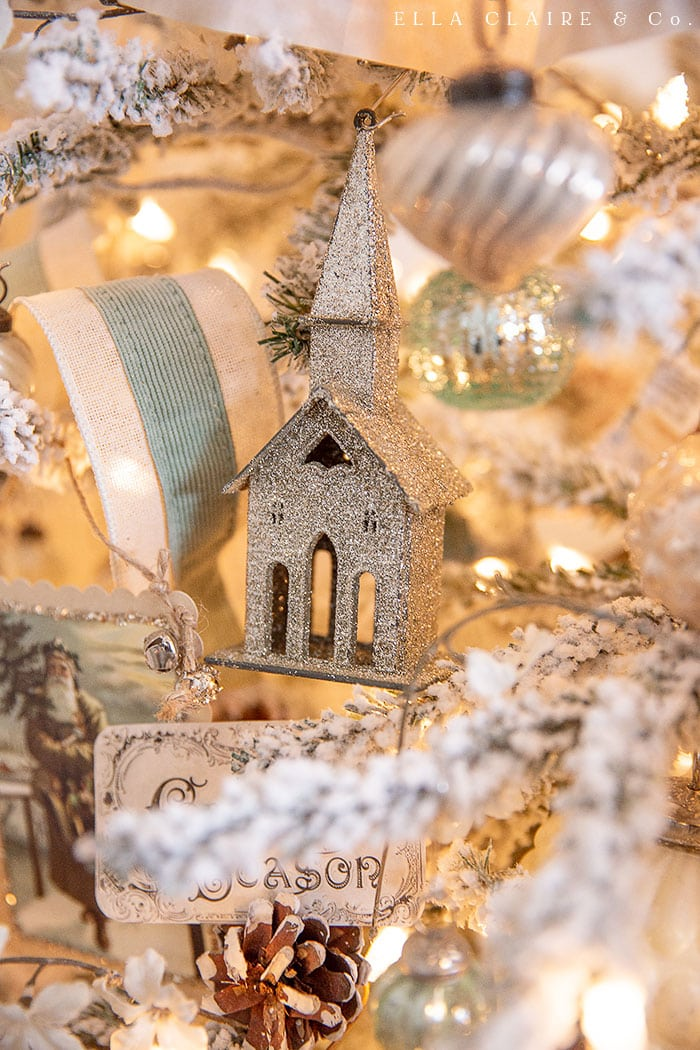 a glitter church ornament for a vintage Christmas tree