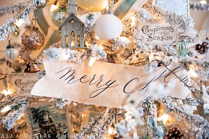 ree printable Merry Christmas banners tea dyed for a vintage holiday feel