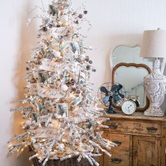 Vintage Blue and Warm Silver Tree