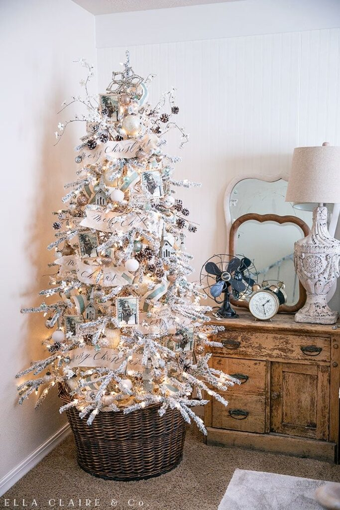 Vintage Blue And Warm Silver Tree Ella Claire Co