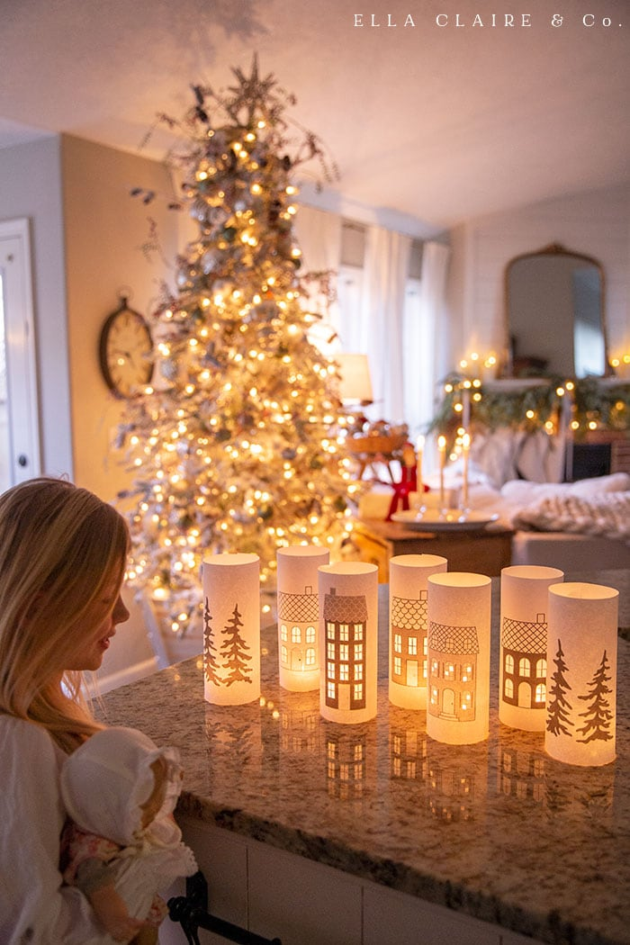 Free printable luminaries for traditional, vintage, or farmhouse decor.