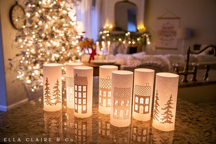 Free printable Christmas Village Luminaries that print on regular printer paper