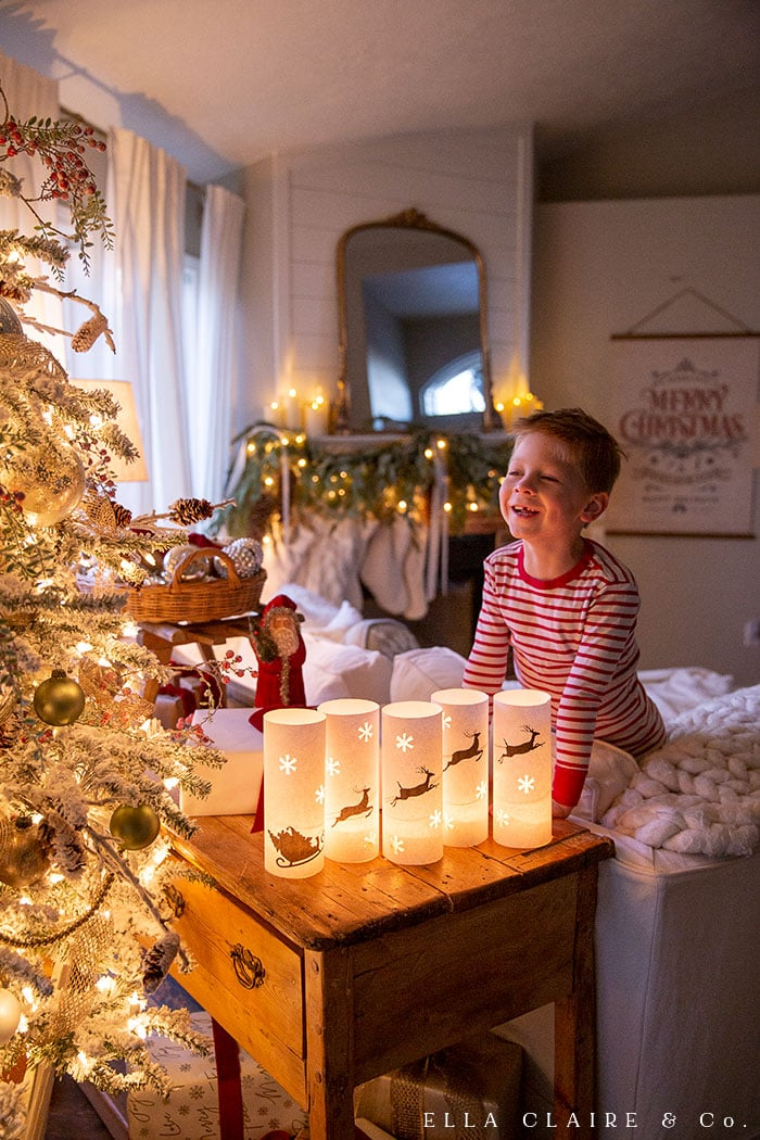 Kids love to help create these magical santa and reindeer luminaries with this free printable