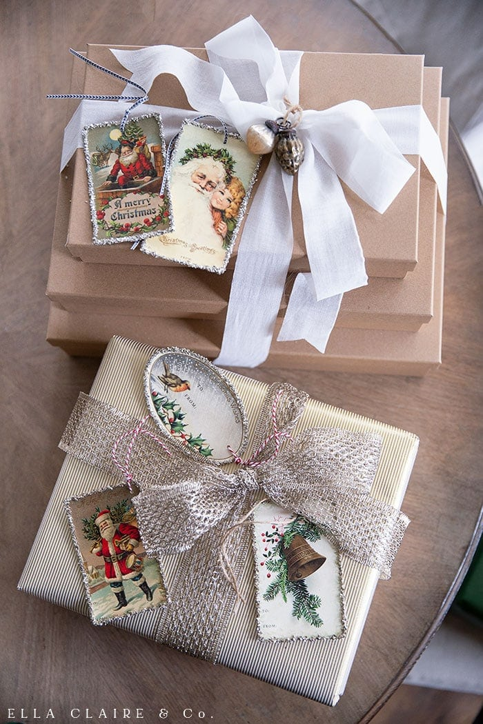 Beautiful Christmas gift wrapping ideas with free printable tags
