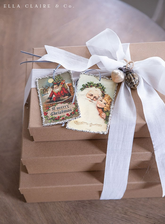 Beautiful gift wrapping with free printable antique Santa gift tags