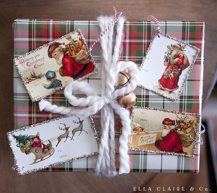 Beautiful Christmas gift wrapping with free printable gift tags
