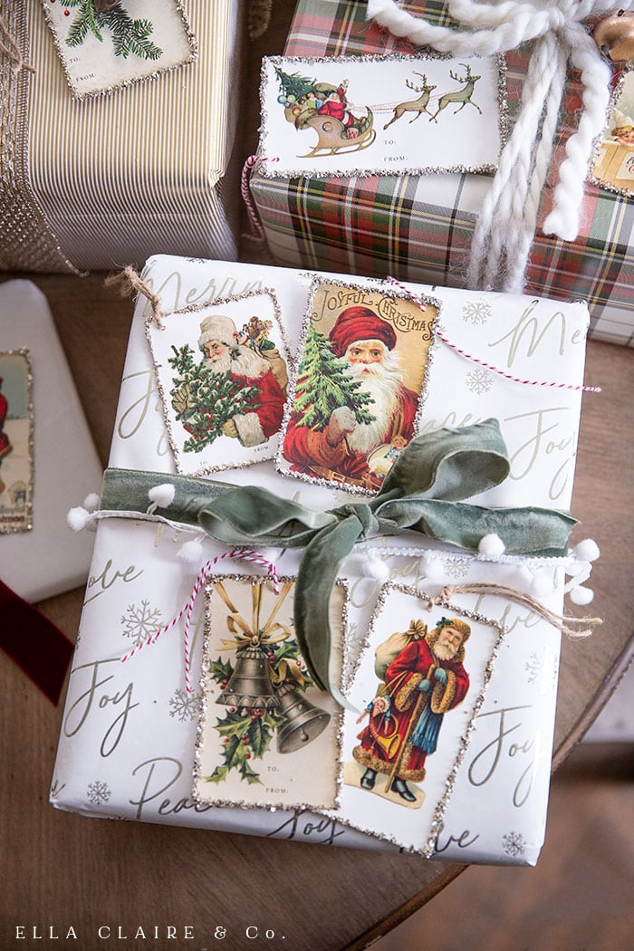 Free printable vintage Santa and Christmas gift tags for thoughtful holiday gift wrapping