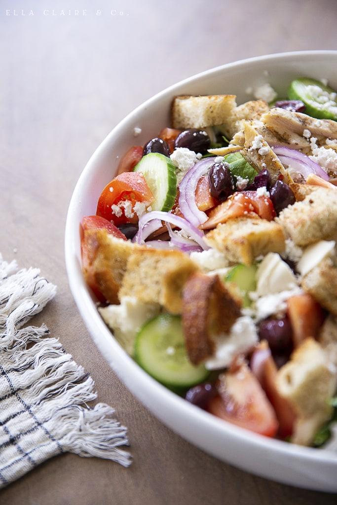 Delicious Panzanella Bruschetta Dinner Salad with Chicken