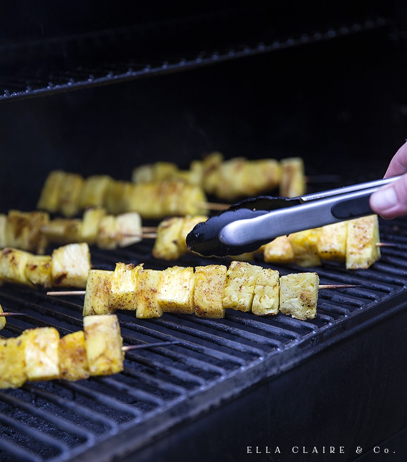 turning pineapple over on the grill
