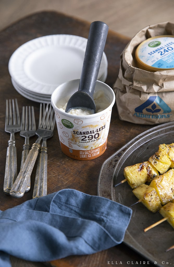 serving pineapple kabobs with healthy ice cream