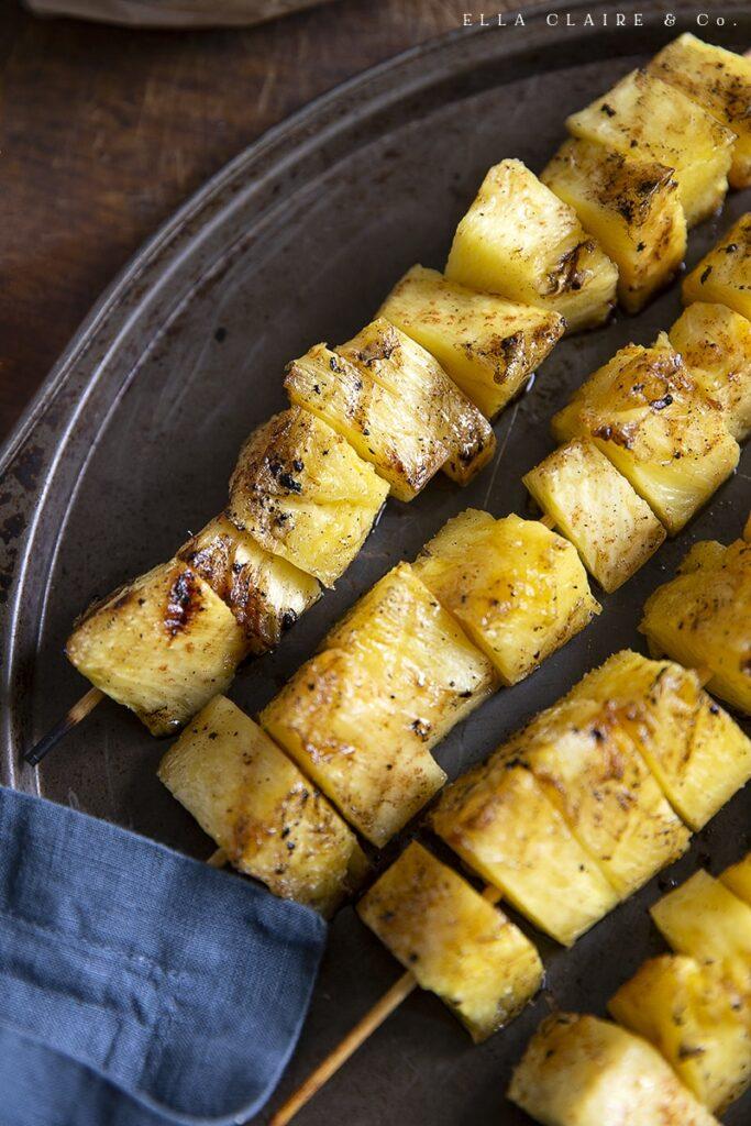 lightly sprinkled cinnamon sugar pineapple kabobs