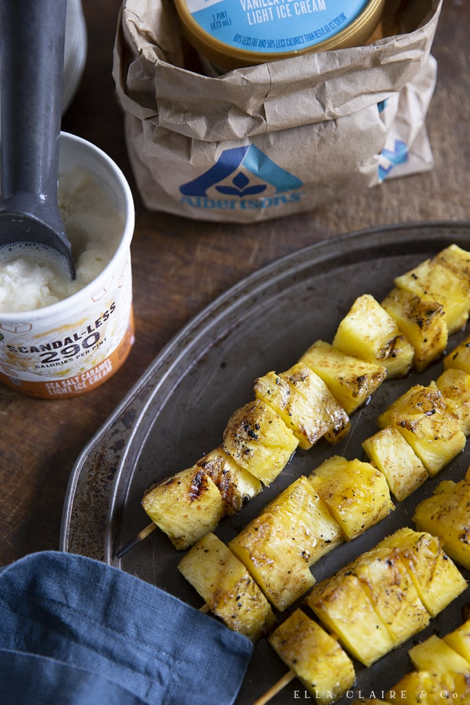 grilled pineapple kabobs served with low calorie ice cream