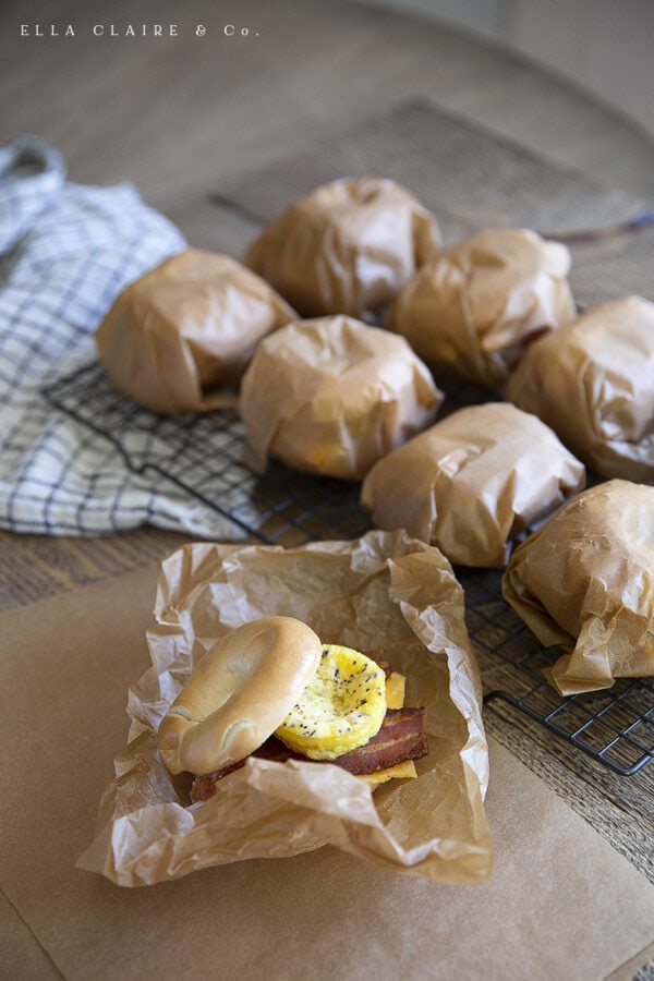 wrapping bagel sandwiches for the freezer