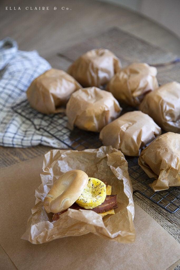 Freezer Breakfast Bagel Sandwiches