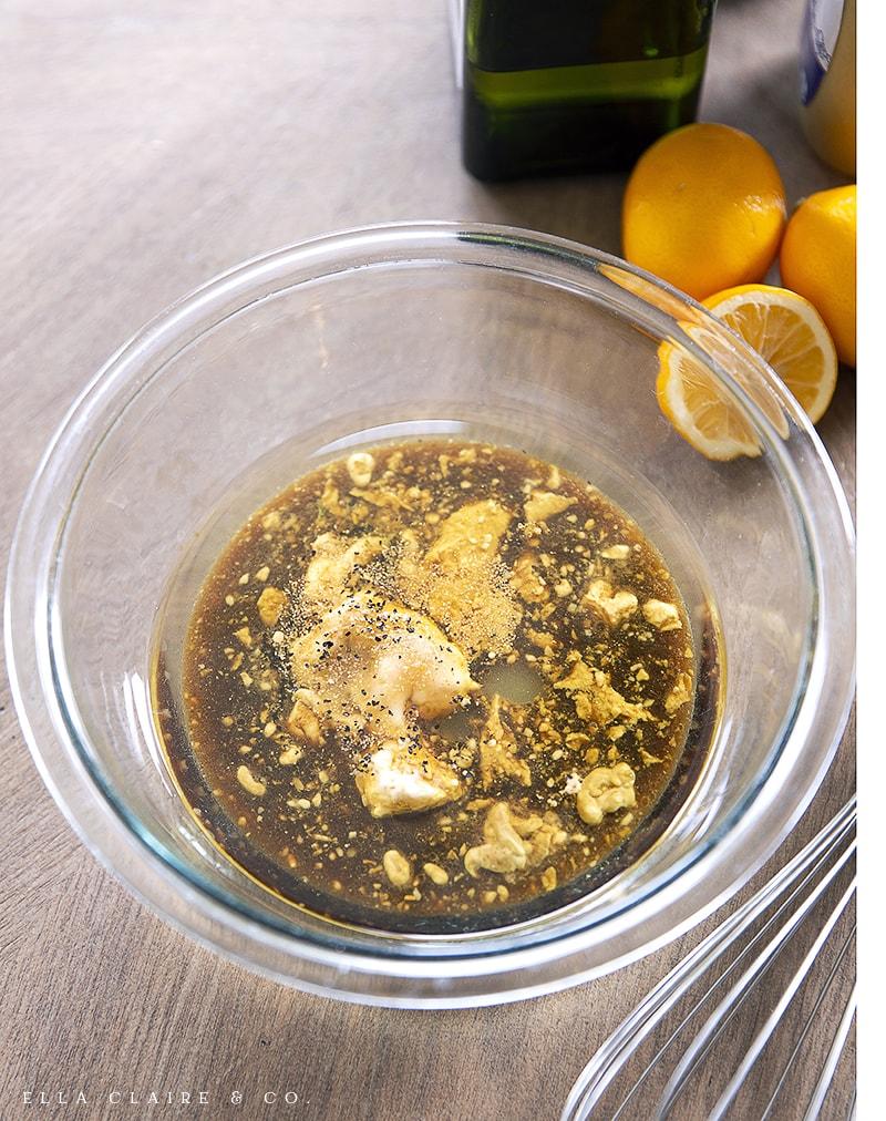 Add balsamic vinaigrette ingredients to bowl