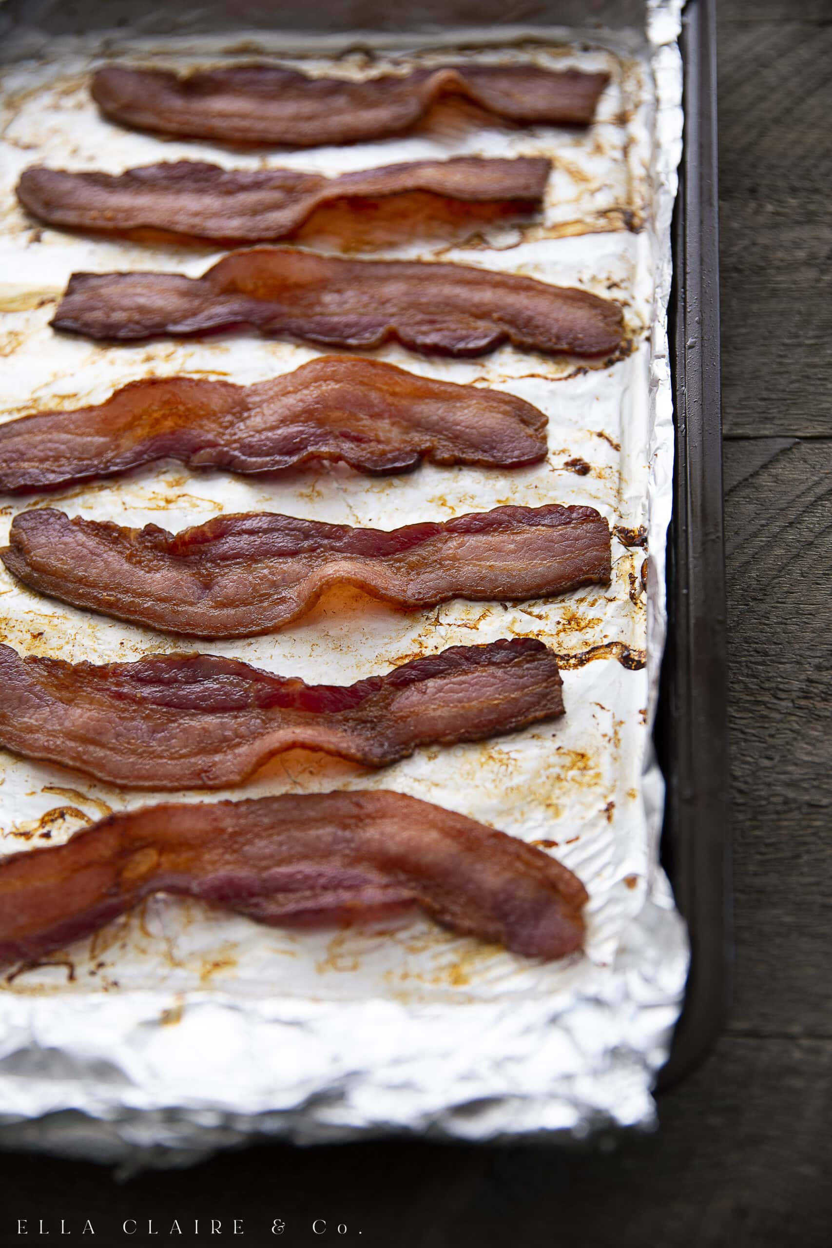 oven baked rows of perfect bacon