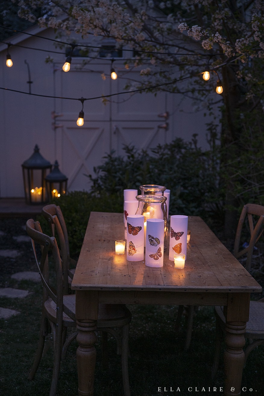 butterfly luminaries with candles