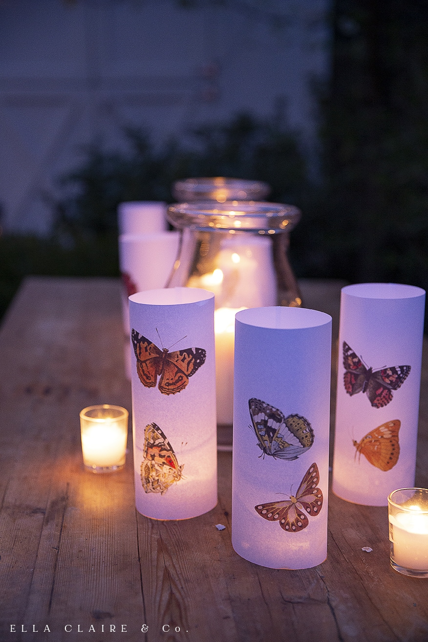 candlelit butterfly luminaries close up