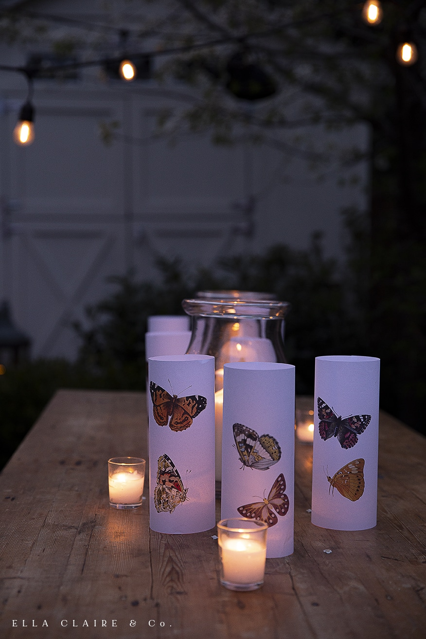 votives and butterfly luminaries