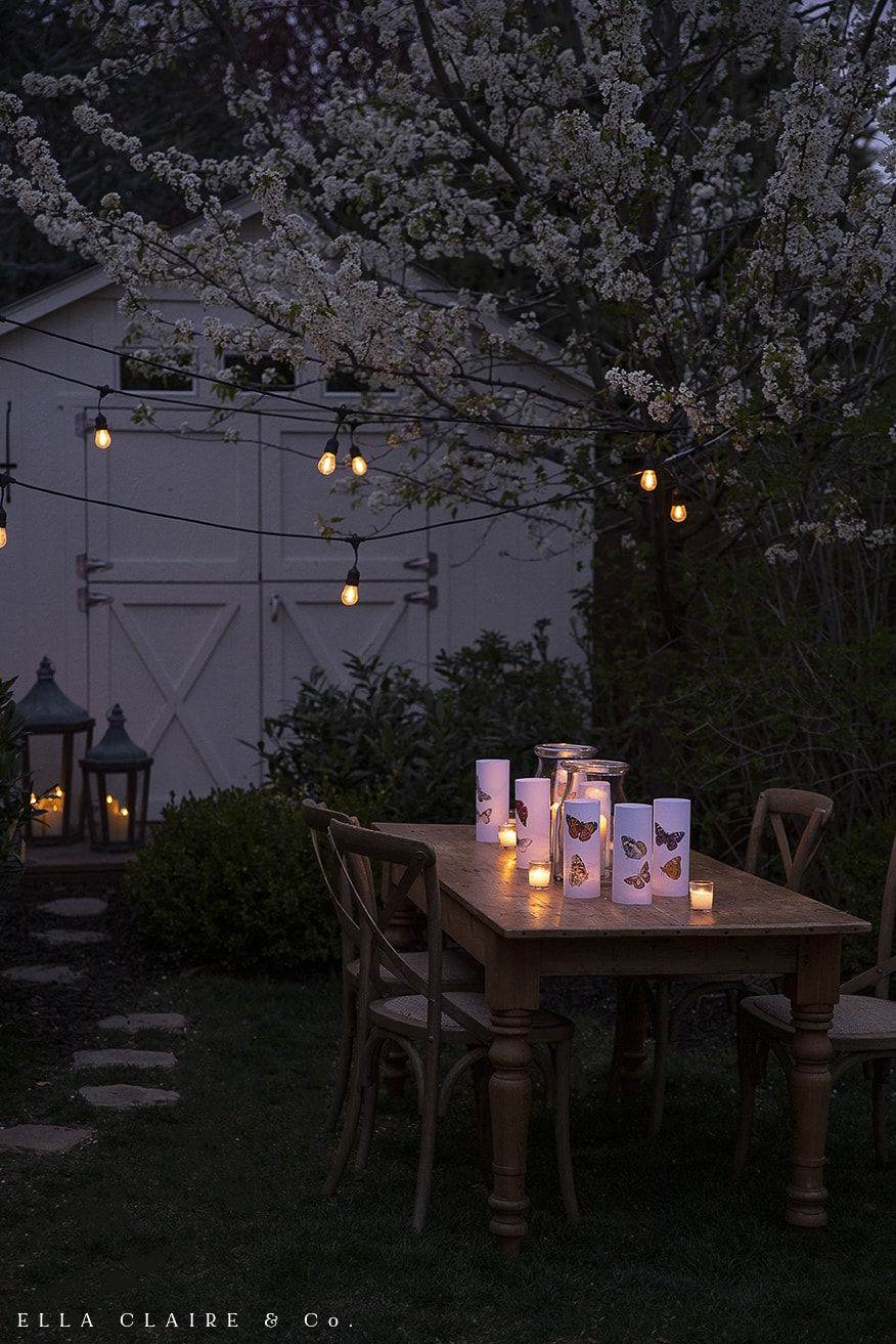 luminaries with candlelight and twinkle lights