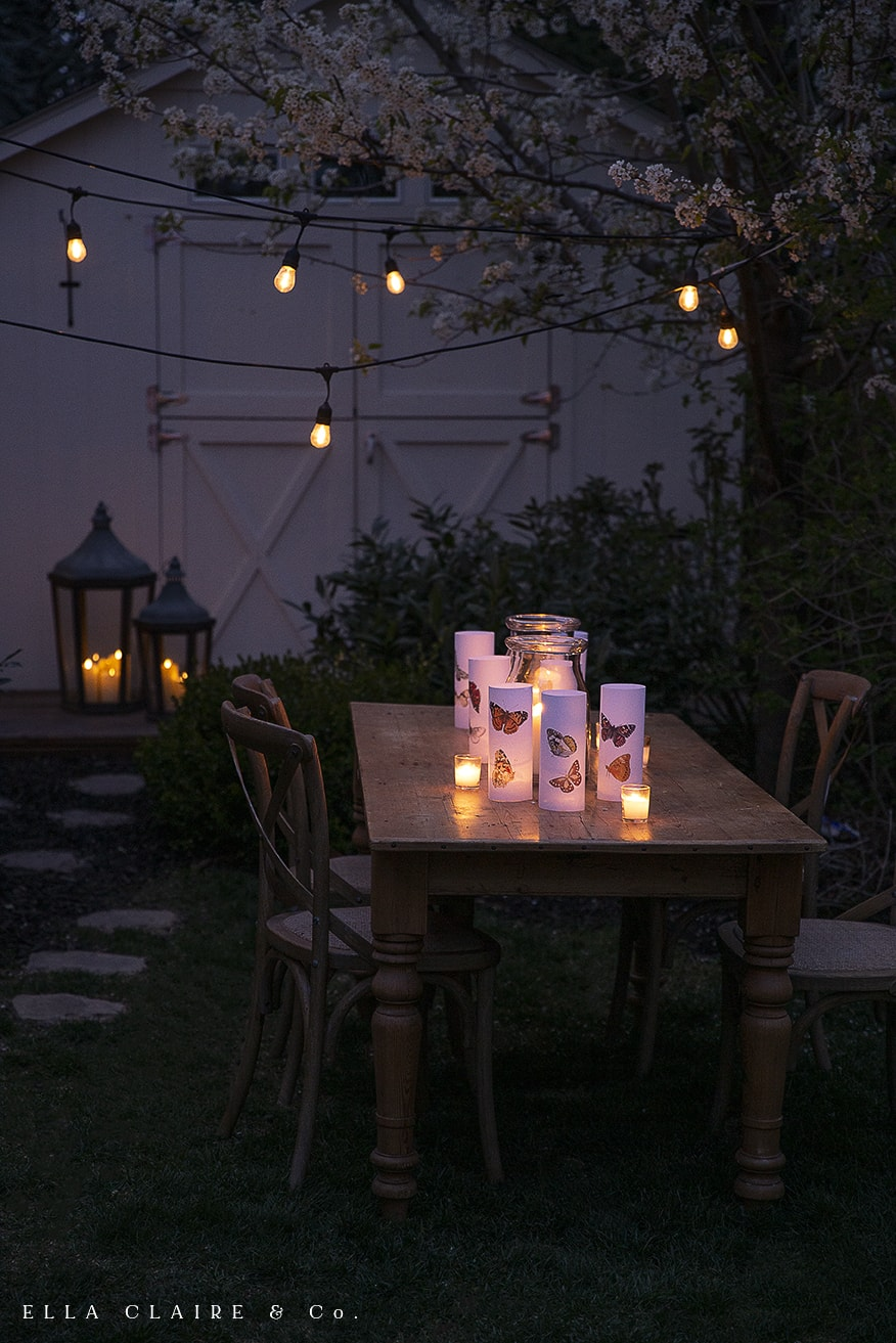 magical luminaries at night in the garden
