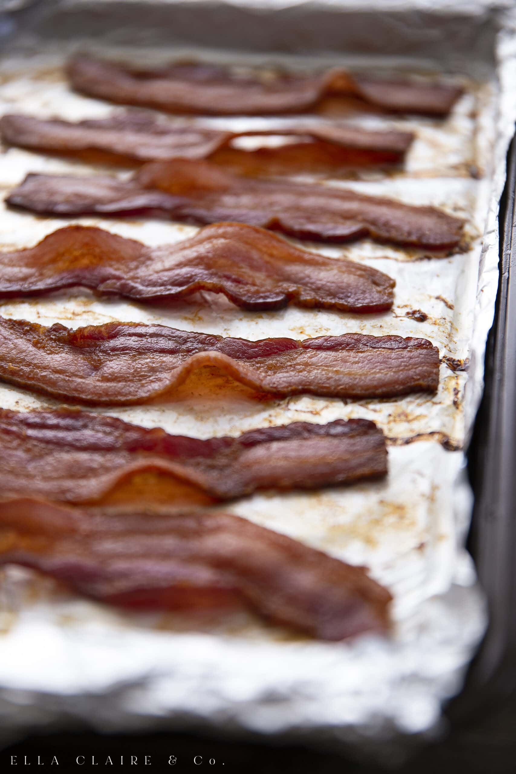 Bacon baked in a pan in the oven
