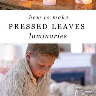 elegant fall luminaries with pressed leaves