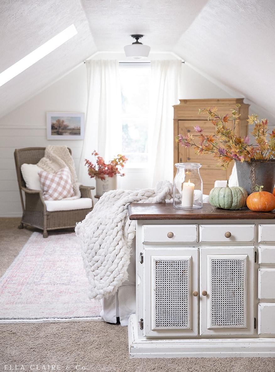 fall decor in bonus family room