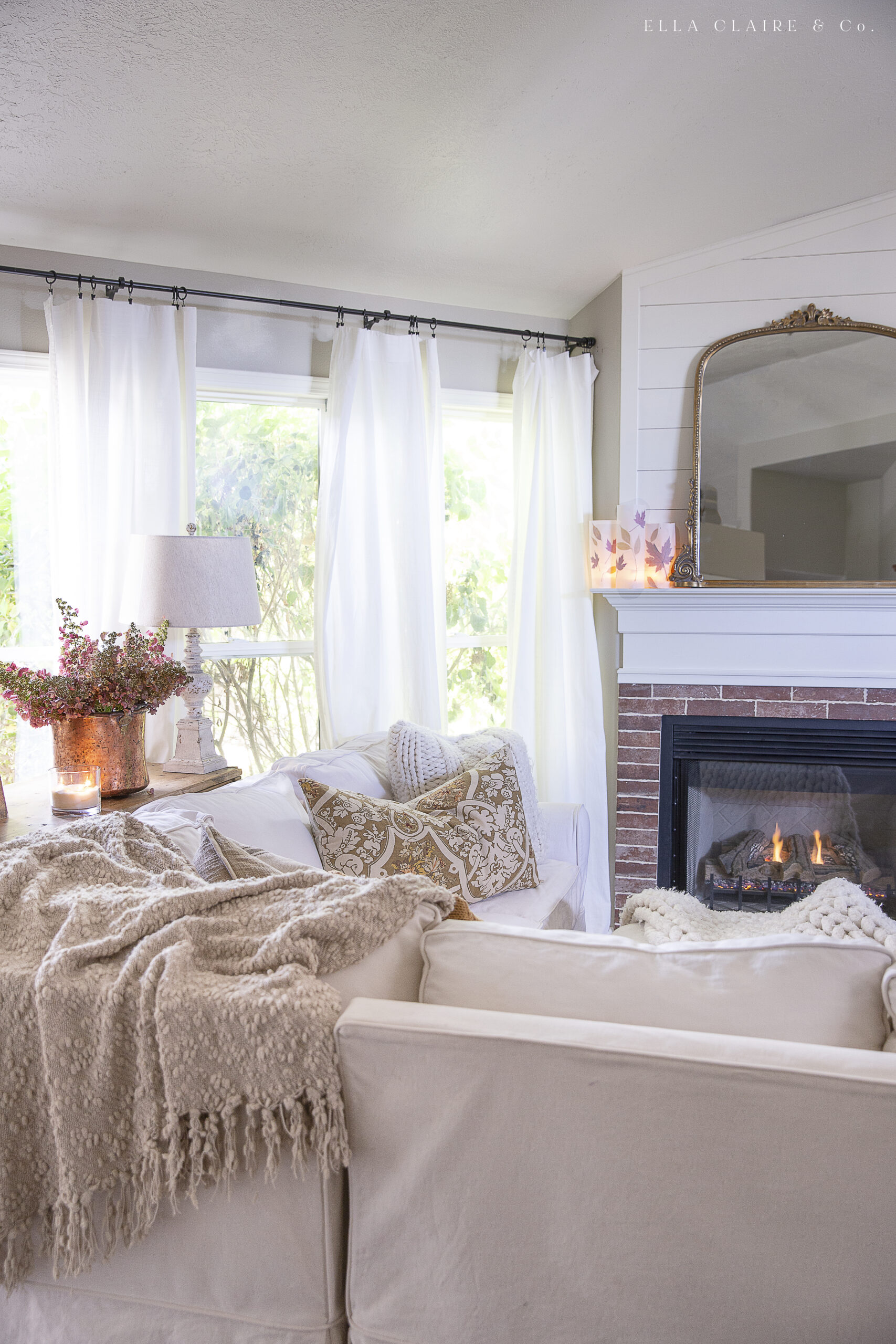 Cozy accents in a fall family room