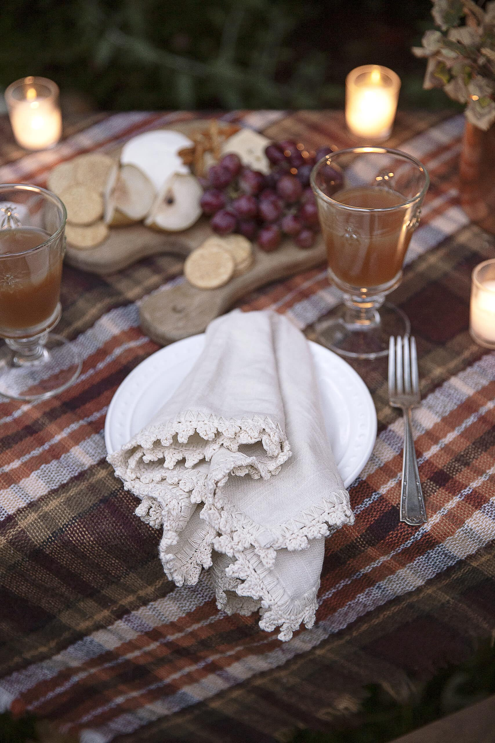 crochet edge napkin and simple place setting