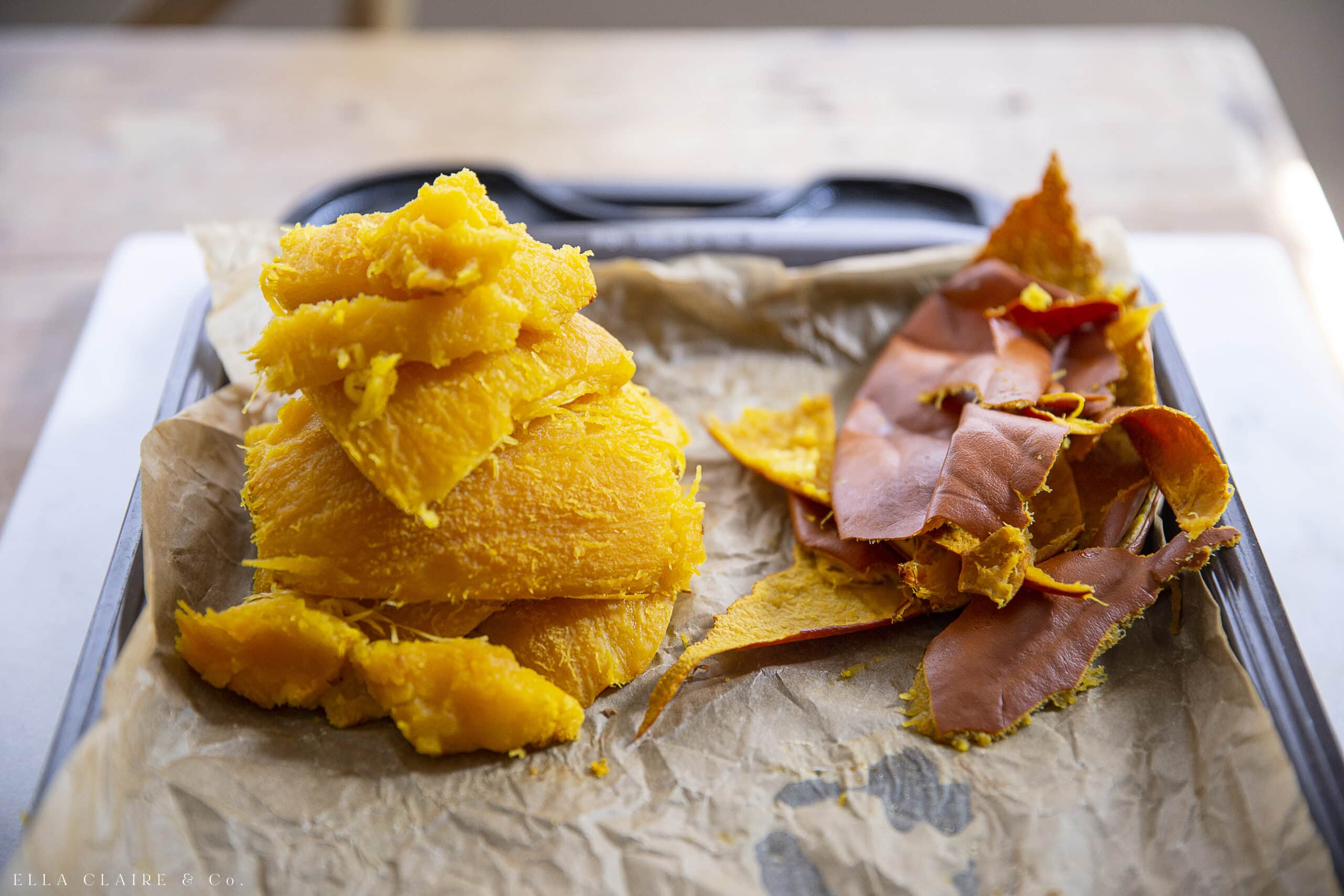 peeling off the gourd skin