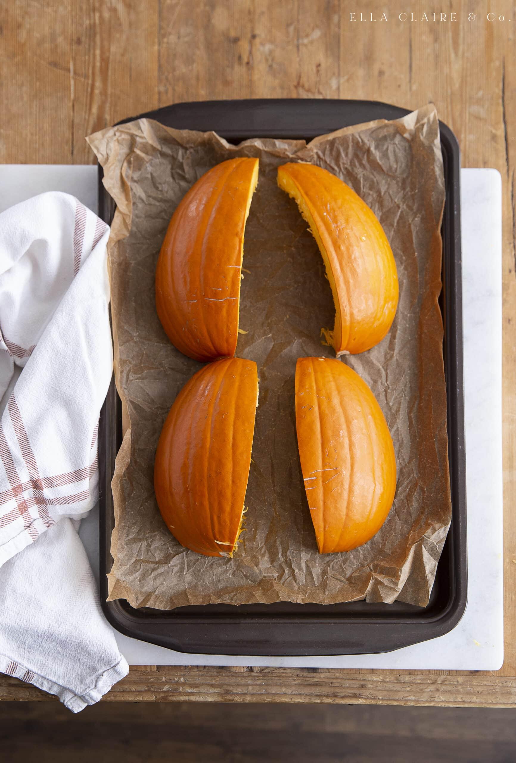 sliced pumpkin ready to bake