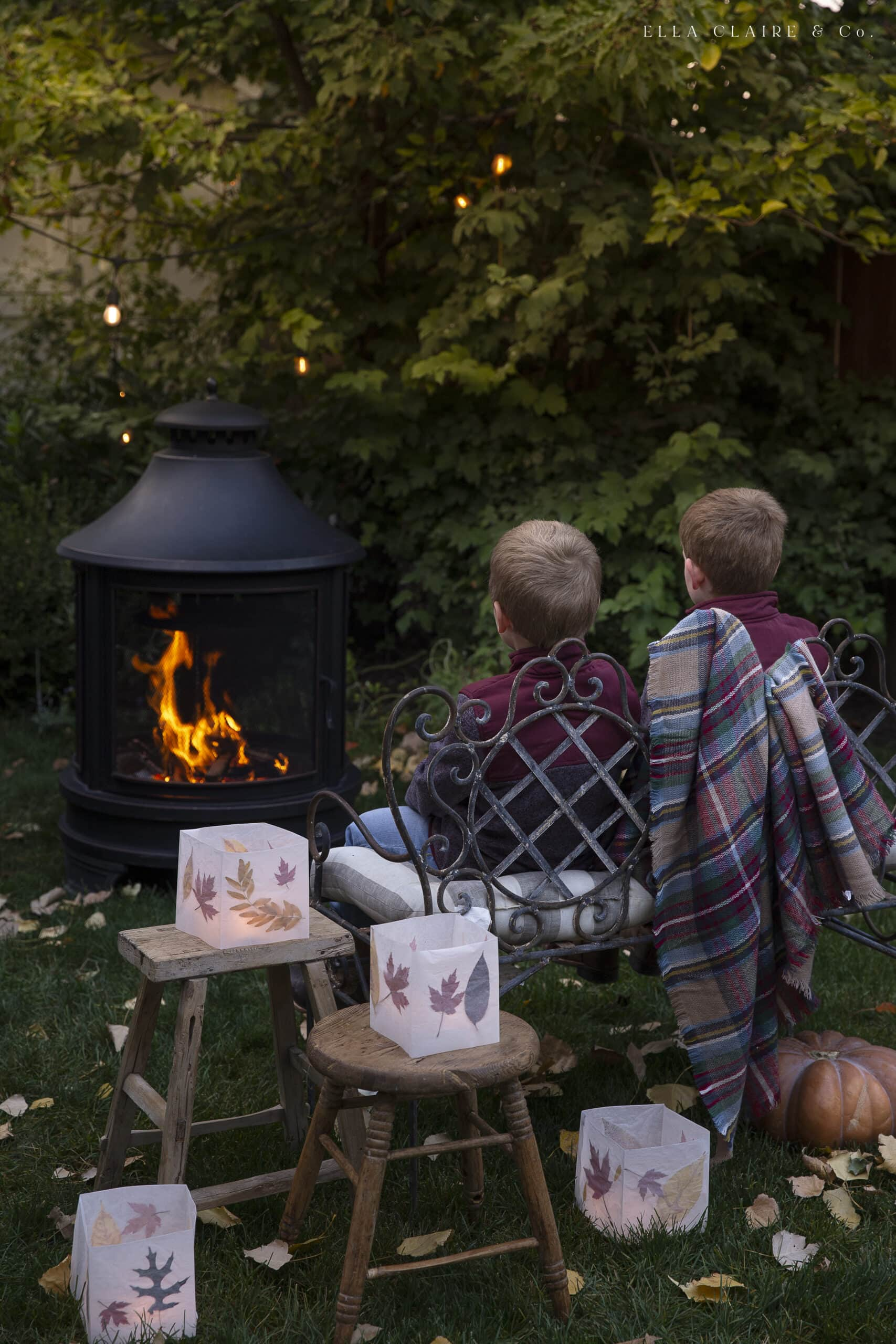 Fall outdoor fire pit with twinkle lights